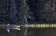 Cypress Hills Provincial Park Prints - Reesor Lake Cypress Hills Fishing Print by Mark Duffy