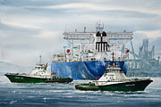 Artist James Williamson Fine Art Prints Prints - Refinery Tanker Escort Print by James Williamson