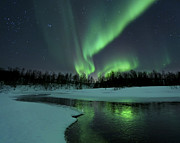 Color Green Metal Prints - Reflected Aurora Over A Frozen Laksa Metal Print by Arild Heitmann