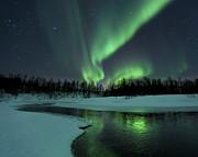 Reflected Aurora Over A Frozen Laksa Print by Arild Heitmann
