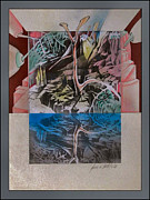 Analog Mixed Media Framed Prints - Reflected Woodscape 2002 Framed Print by Glenn Bautista