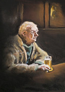 Old Pastels - Reflecting Over A Pint by Paul Mitchell
