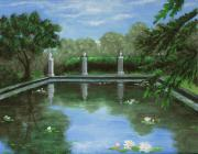 Landscape Prints Drawings Framed Prints - Reflecting Pool Framed Print by Anastasiya Malakhova
