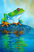 Reptiles Painting Prints - Reflecting Red-Eyed Tree  Frog  Print by Myra Evans