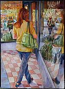 Figures Painting Originals - Reflecting Shopping by Carolyn Epperly