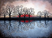 Trees Reflecting In Water Painting Posters - Reflecting Trees Poster by Janet King