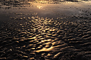 Surf Silhouette Metal Prints - Reflection And Wave Of Sand Metal Print by Setsiri Silapasuwanchai