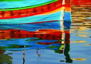 Barry Culling Art - Reflection boats Malta by Barry Culling