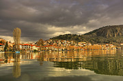 Sailboat Ocean Pyrography - Reflection city of Kastoria by Soultana Koleska