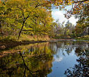 Fall Scene Photos - Reflection in a Dreamy Pond by Iris Greenwell
