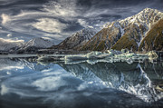 Mountain Photos - Reflection In Glacial Lake At Tasman by Colin Monteath