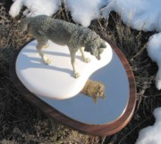 Wolves Sculpture Posters - Reflection Poster by James Roybal