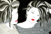 Red Lips Drawings - Reflection by Mike Paget