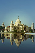 Neo-classical Posters - Reflection Of A Museum In Water, Victoria Memorial, Kolkata, West Bengal, India Poster by Photosindia