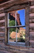 Cabin Window Prints - Reflection of Beauty Print by Sandra Bronstein
