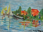 Wax Pastels Posters - Reflection of Boat-Sails on River Poster by Shafiq-ur- Rehman