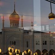 Architectural Feature Photos - Reflection Of Hotel Nimb At Dusk by Keenpress