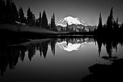 Black And White Photo Prints - Reflection Of Mount Rainer In Calm Lake Print by Bill Hinton Photography
