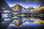 Symmetry Metal Prints - Reflection Of Mountain In Lake Metal Print by RMB Images / Photography by Robert Bowman