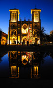 Colonial Architecture Posters - Reflection of San Fenando Cathedral Poster by Iris Greenwell