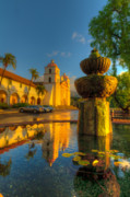 Blue Brick Prints - Reflection of Santa Barbara Mission Print by Connie Cooper-Edwards