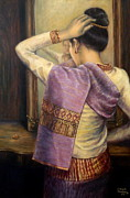 Silk Painting Originals - Reflection by Sompaseuth Chounlamany