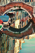Reflection In Water Digital Art Posters - Reflection-Venice Italy Poster by Tom Prendergast