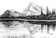 Reflection Drawings - Reflections - Mountain Landscape Print by Kelli Swan