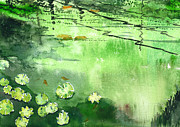Peaceful Scene Paintings - Reflections 1 by Anil Nene