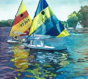 Lake Michigan Painting Originals - Reflections after the Race by LeAnne Sowa
