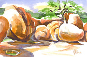 Odd Painting Prints - Reflections at Elephant Rocks Print by Kip DeVore