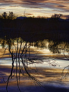 Panoramic Digital Art Originals - Reflections at Sunset by Kathy Rose