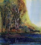 Autumn Landscape Tapestries - Textiles Prints - Reflections Print by Carolyn Doe