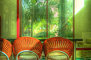 Wicker Chairs Framed Prints - Reflections Framed Print by Debra and Dave Vanderlaan