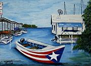 Puerto Rico Painting Metal Prints - Reflections Metal Print by Gloria E Barreto-Rodriguez