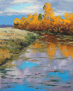 Autumn Landscape Painting Prints - Reflections Print by Graham Gercken