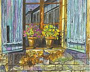 Blue Brick Pastels Prints - Reflections In A Window Print by Carol Wisniewski