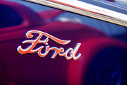 Blue Classic Car Posters - Reflections in an Old Ford Automobile Poster by Carol Leigh