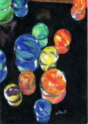 Colored Pencil Art - Reflections in Black by Lynne Reichhart