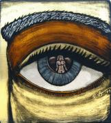 Nude Glass Art Prints - Reflections In Ones Eye II Print by Valerie Lynn