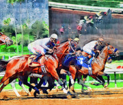 Race Horse Photos - Reflections in Racing by Clarence Alford