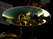 Tubist Prints - Reflections in Tuba Art   Print by Steven  Digman