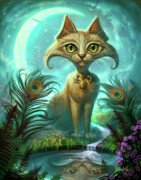 Fantasy Cats Paintings - Reflections by Jeff Haynie