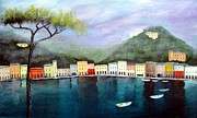 Portofino Italy Paintings - Reflections  by Larry Cirigliano