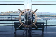 Alcatraz Metal Prints - Reflections of Alcatraz Island at The Maritime Museum in San Francisco California . 7D14080 Metal Print by Wingsdomain Art and Photography