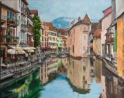 River Painting Originals - Reflections Of Annecy by Charlotte Blanchard