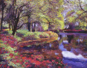 Most Popular Paintings - Reflections of Azalea Blooms by David Lloyd Glover