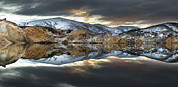 Snow-covered Landscape Photo Prints - Reflections Of Cliffs On Blue Lake St Bathans Print by Colin Monteath