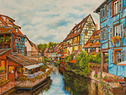 Canal Painting Originals - Reflections of Colmar by Charlotte Blanchard