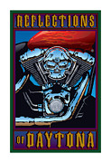 Chrome Skull Prints - Reflections of Daytona Print by Steven Schader